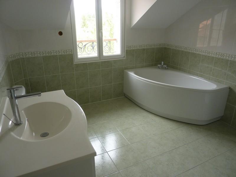 de bain mixte baignoire et cabine de douche avec colonne de douche hydromassante carrelage vert au sol faence coloris vert et blanc avec 2 frises - Faience Vert Et Blanc